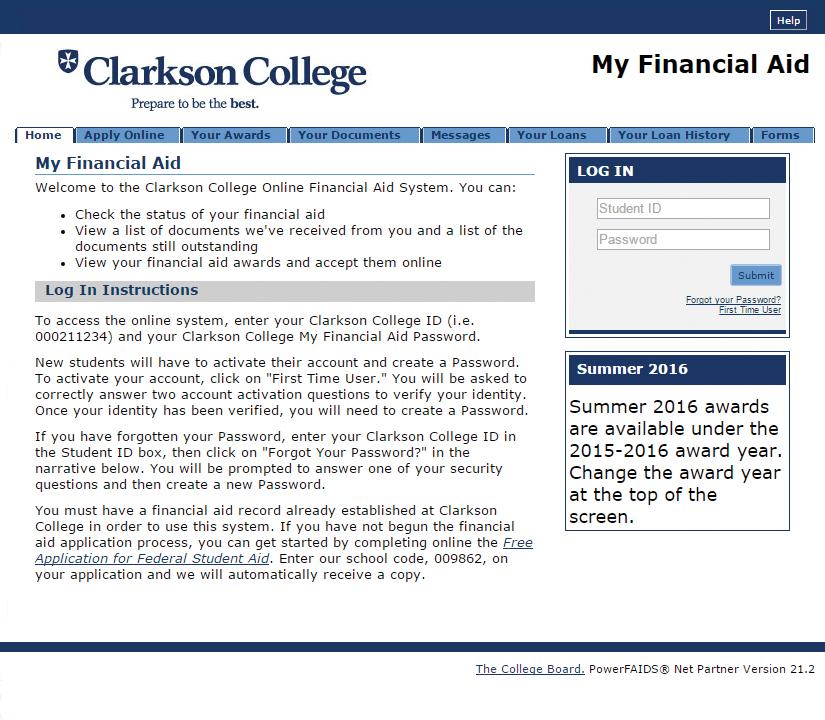 My Financial Aid screenshot