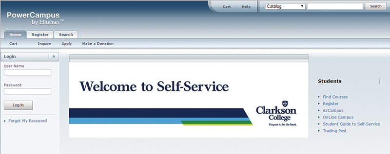 Self Service Login Page